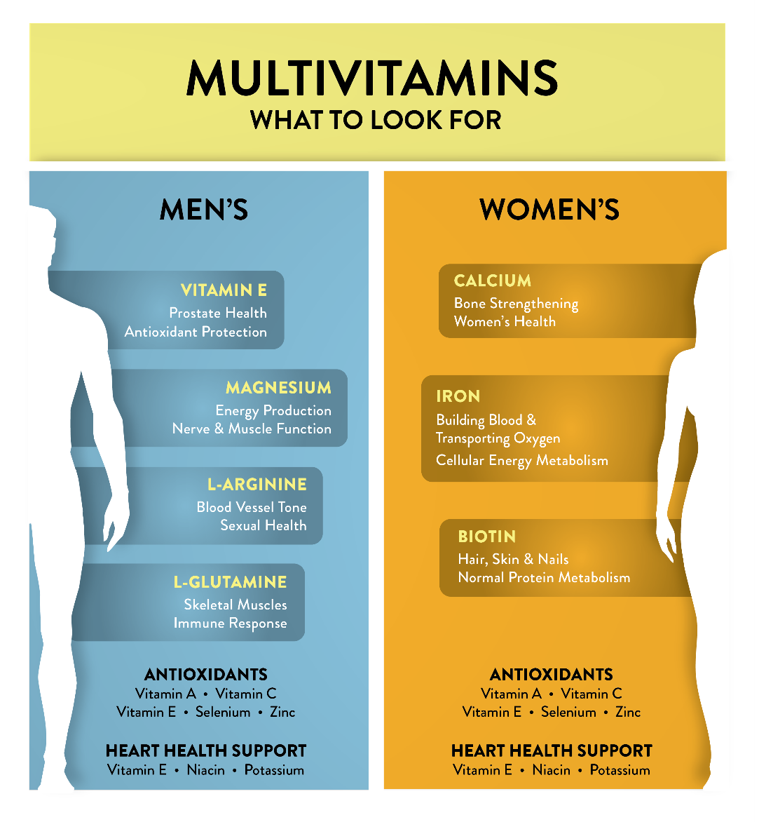 Here's a chart depicting important multivitamins for men and women
