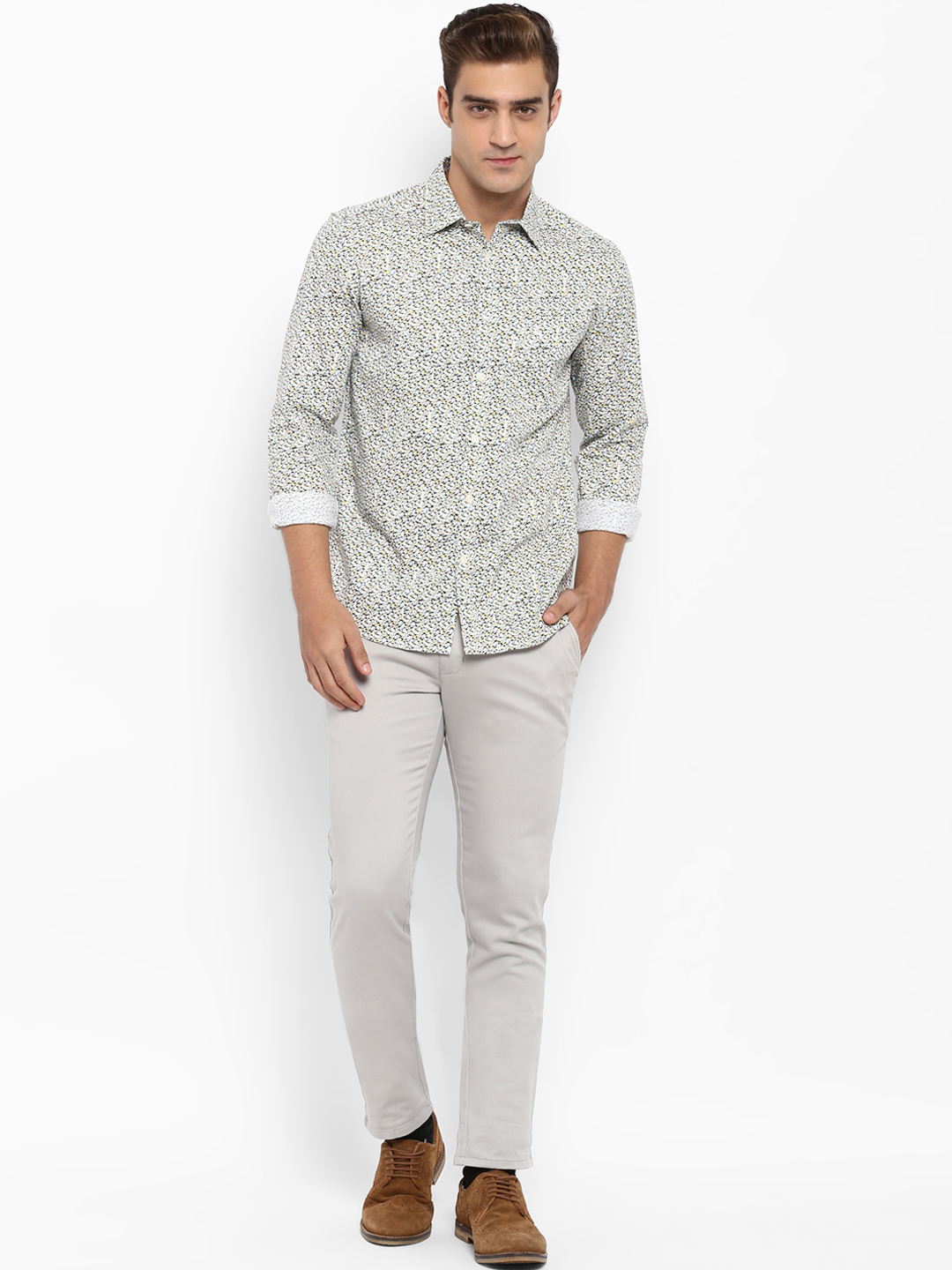 Parx Grey Slim Fit Solid Chinos